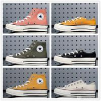 Wholesale all black shoes resale online - 2019 Chuck s All Stars Fashion Men Women High Canvas Shoes Triple Black Dark Blue Stripe Skateboarding Low Casual Shoes Sneakers