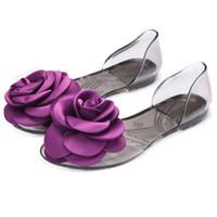 sandalias de pez grande al por mayor-Zapatos de mujer 2019 Summer Open Toe Jelly Slip On Zapatos Big Floral Boca de pescado Sandalias de playa Dama chaussures femme zapatos de mujer