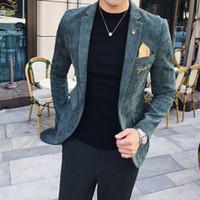 coreano moda masculina jaqueta venda por atacado-YUSHU Novo Mens Blazer Moda Manga Comprida Blazer Jacket Slim Fit Outwear Casaco Traje Homme Homens Coreanos