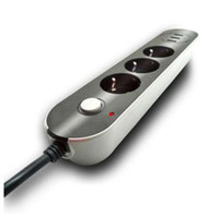 güç kablosu kablosu toptan satış-AB Avrupa Fiş Güç Şeridi Anahtarı Ile 10A 250 V 3 Çıkışları 3 USB Uzatma Soket Kordon Kablo Dalgalanma Koruyucusu