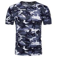 ingrosso corto d'esercito blu-New Fashion Fan Militare Camo T-shirt Russia Uomini Coraggiosi Manica Corta O-Collo Camouflage Stampa Army Rosso Verde Blu Maglietta Tees Tops