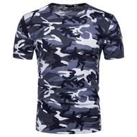 camisas de camuflaje rojo al por mayor-Nueva moda militar Fan Camo camisetas Rusia hombres valientes manga corta con cuello camuflaje estampado ejército rojo verde azul tejer camisetas Tops