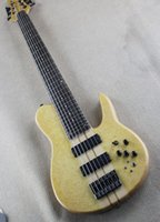 Wholesale customize bass guitar online - Light beige yellow bass electric guitar strings with active pickups eyebrows and bird eyes straight through the body customized service