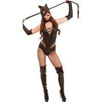Wholesale leather jumpsuit halloween resale online - jumpsuit women Halloween Cosplay Painted Leather Siamese Batman Costume Game Uniform rompers bodysuit combinaison femme mono