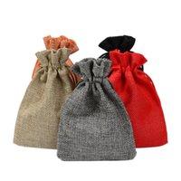 ingrosso sacchetti eco friendly iuta-50 pezzi di lino juta coulisse sacchetto di cotone mix di colori pacchetti per imballaggio regalo festa di nozze sacchetti di caramelle di Natale 3 dimensioni nave veloce
