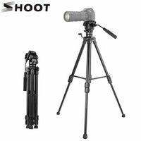 микро штатив оптовых-SHOOT Aluminium Travel Portable Elastic Folding Tripod for Canon Nikon DSLR Micro Film SLR Camera Tripod with Handle Ball-head