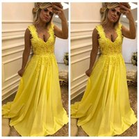 Wholesale occasion elastic spaghetti special dresses resale online - 2019 Spaghetti Lace Appliques A Line Prom Dresses Beaded Sweep Train Long Special Occasion Party Gowns Vestidos De Soiree Customized