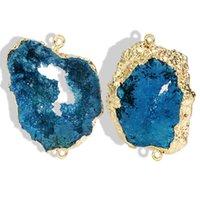 agate druzy gold pendant toptan satış-Yeni Druzy Akik Kolye Charm Doğal Akik Taş Düzensiz Şekil Çok Renkli Kolye Ile Altın Kaplama DIY Takı Yapımı Için Kolye