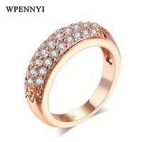 anillos de dedo de moda completa al por mayor-Rose Gold Color Sparkling Cubic Zirconia Full Paved Classic 3 Rows Woman Fashion Finger Rings Wholesale Valentine Gift