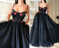 Wholesale pink carpet roses resale online - 2020 Amazing Rose Printed Flower Evening Celebrity Dresses Formal Gowns with Straps Ball Gown Pockets Tulle Long Cheap Prom party Dress