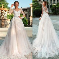 Wholesale bow illusion wedding dresses resale online - Chic Tulle Bateau Neckline A Line Wedding Dresses with Lace Bride Sheer Bodice Illusion Long Sleeves Bridal Dress