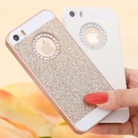 iphone logo deliği toptan satış-Girly tarzı iphone x glitter durumda sert plastik bling tozu elmas durumda logo ile delik rhinestone coque