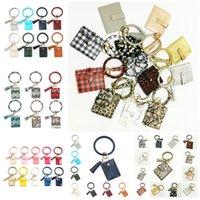 Wholesale designer wristlet clutches resale online - Bracelet Keychain Wallet Leopard PU Leather Tassel Women Card Bag Women Clutch Wristlet Keyring Party Favor style T2C5232