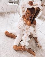 beyaz organze üstleri toptan satış-Beyaz kapalı omuz mahsul en Kadınlar seksi see through slash boyun puf uzun kollu peplum mesh patchwork organze fırfır bluz