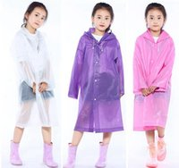 Wholesale portable raincoats resale online - Children Raincoats new design Portable Reusable rainning weather wear clothes outdoor travel EVA boy girl raincoat