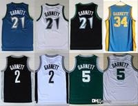 ingrosso nero rev-NCAA New Minnesota 21 Kevin Garnett Jersey Timberwolves # 5 Fashion Rev 30 2 Camicia Uniforme Nero Blu Bianco Verde Puro Cotone