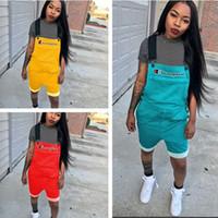 xl shorts overoles al por mayor-3 Colores Cartas Impresas Mujeres Campeones Mono en General Suspender Pantalones Correas cortos Monos Summer Romper Brace Pantalones S-2xl A4802