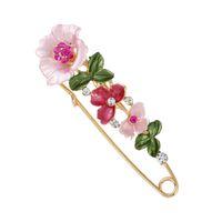 chal tibet al por mayor-Diseñador Broches de Cristal Flor de Seguridad Pins Decorativos Broche Clip Corchete para Ropa Bufandas Botones Del Mantón Para Las Mujeres Joyería de Moda