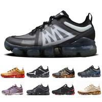 zapatos negros de marca para hombres al por mayor-Nike Air vapormax 2019 shoes Cojín de aire Zapatos de marca hombre zapatillas Canyon Gold Aluminium Azul hombres mujeres negro rojo entrenador zapatillas deportivas 5.5-11