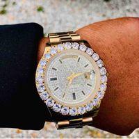 relojes cara de diamante al por mayor-Venta caliente Completo Nuevo Reloj Barrido Suave Mecánico Movimiento automático Diamantes Cara Grandes Piedras Bisel Relojes para hombre de lujo