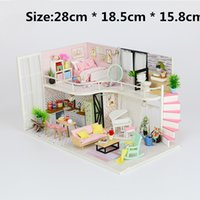 Wholesale assembled miniature wooden doll houses resale online - Diy Doll House Building Model Wooden Furniture Assemble Miniature Creative Houses For Lol Dolls Toys For Kids Birthday Gifts Y19070503