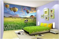 Wholesale paper scenery 3d resale online - 3D photo wallpaper custom d wall murals Cartoon Prairie Balloon Ranch Pastoral Scenery murals TV Background Wall papers home decor