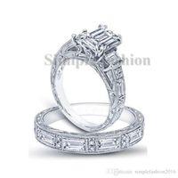 3ct trauringe großhandel-Modeschmuck Antikschmuck Princess Cut 3ct 5A Zirkon CZ 925 Sterling Silber Frauen Engagement Ehering Ring Set