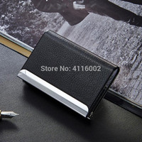 Wholesale pu leather business card holder case for sale - 200pcs Business ID Credit Card Holder For Women Men Fashion Metal PU Leather Card Case Travel Card Wallet