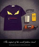 camisas de grife de marca venda por atacado-Mens Designer Verão Encabeça Marca zíper T Camisas Homens e Mulheres Camisa de Manga Curta Roupas Letra Impressa Pescoço Adorável olhos pescoço laca LOGOTIPO