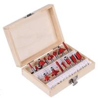 Wholesale carbide cutter bits resale online - Professional Shank Tungsten Carbide Router Bit Set Wood Case tool kit Milling Cutter Router bit set