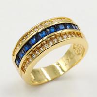 ingrosso oro blu zaffiro anello oro-Dimensioni 8/9/10/11/12 Gioielli Shinning di lusso 10KT Oro Fill Princess Cut Blue Sapphire CZ Diamond Wedding Anello di fidanzamento Anello per gli uomini regalo