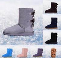 un cuero al por mayor-Botas de mujer 2019 Botas de nieve clásicas de Australia WGG de cuero real alto Bailey Bowknot niña desinger de invierno Mantenga botas cálidas talla 36-41 # aa