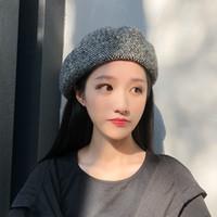 boina respirável venda por atacado-Beret outono e inverno senhoras literárias tridimensionais cor sólida britânico retro knit pintor chapéu chapéu de maré respirável