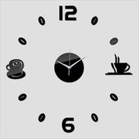 современные самоклеящиеся настенные часы оптовых-3d новые настенные часы самоклеющиеся современный дизайн для кухни гостиной зеркало тихий кварцевые часы наклейки часы home decor клок