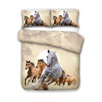 ingrosso copripiumino a cavallo di dimensioni reali-Bella 3D Fashion Horse Bedding Set Twin Full Queen King 4 Dimensioni Copripiumino Federa Set biancheria da letto Set di biancheria da letto