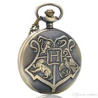 hogwarts taschenuhr groihandel-Fantasie Coole Kinder Bronze Hogwarts Theme Fob Quarz Taschenuhr Volle Hunter Ziffern Anhänger Uhr Beste Geschenk für Filmfans mit Kette