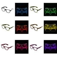 Wholesale el wire pc resale online - Creative LED Party Glasses Fashion EL Wire Glasses Birthday Halloween Party Bright Eyewear Bar Fluorescent Dance Decorative TTA1091