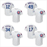Wholesale kyle schwarber jerseys resale online - 17 Kris Bryant Anthony Rizzo12 Kyle Schwarber arrieta Jersey White stripe Anniversary