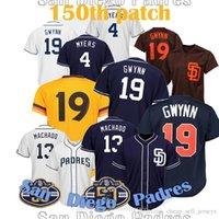 тони гвинн бейсбол оптовых-новый 13 Machado Tony 19 Gwynn 4 Wil Meyers BASEBALL JerseyTOP NEW 2019 патч 150-й