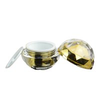 Wholesale gold cream jars online - 30G empty diamond sphere Acrylic cream container gold eye cream sample Cosmetic Jar Cosmetics Packaging pot