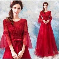 jährliche abendkleider großhandel-Neue Ankunft Heißer Verkauf Spezielle Mode Catwalk Boutique Dinner Jährliche Sitzung Toast Prinzessin Luxury Elegant Rot Bogen Pailletten Gezeiten kleid
