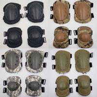 Wholesale black combat suits for sale - Group buy Cycling Tactics Sport Kneepad Field Combat Training Anti Impact Elbow Four Piece Suit Black Khaki Camou Protective Gear zzD1