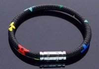 braceletes de couro para homem venda por atacado-Nova moda couro mont pulseira homens fivela charme pulseiras para homens preto com titanium amantes de aço pulseira corda masculino jóias