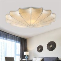 Wholesale brush meter for sale - Group buy Silk Fabric Shade Modern Living Room Ceiling Light LED Ceiling Lights Minimalist Round Pastoral Cloth Nordic Home Style Lamp