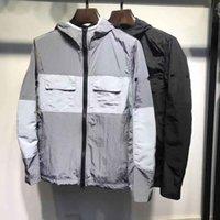 black nylon windbreaker 도매-럭셔리 디자이너 남성 자켓 금속 나일론 윈드 브레이커 재킷 뜨거운 돌 패션 거리 캐주얼 재킷 검정, 회색 크기 M-2XL