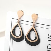 Wholesale best stainless steel charms resale online - New Fashion Young Ladies Best Gift Jewelry Rose Gold Plated Drop Shape Stainless Steel Earring Set
