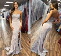 Wholesale evening dresses for sale - 2019 Lace Appliqued Side Slit Mermaid Prom Evening Dresses Sexy Long Strapless Satin Cheap Bridesmaid Gown Formal Party Gown BC2012