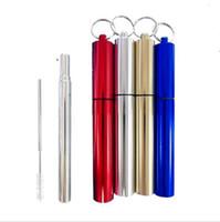 гибкий стрейч оптовых-Гибкая трубочки 4 цвета Телескопический Stretch из нержавеющей стали 23см Straight Бюстгальтер Straws С Brush Set 50шт OOA7057