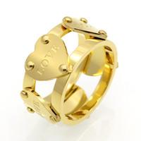 amor coração infinito venda por atacado-Mulheres de aço inoxidável de titânio amor anel oco coração anel para casal casamento infinito eternidade anéis de amor anillos