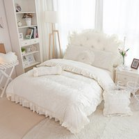 Wholesale full size girl beds for sale - Luxury cotton jacquard duvet cover set korea style girls bedding set full queen king size decorative bed linen quilt cover set